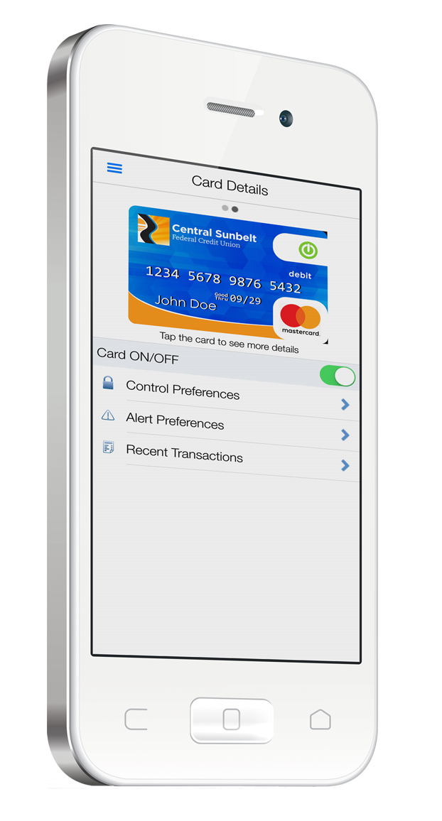 Freeze and unfreeze your card using the Sunbelt Central app at Central Sunbelt FCU