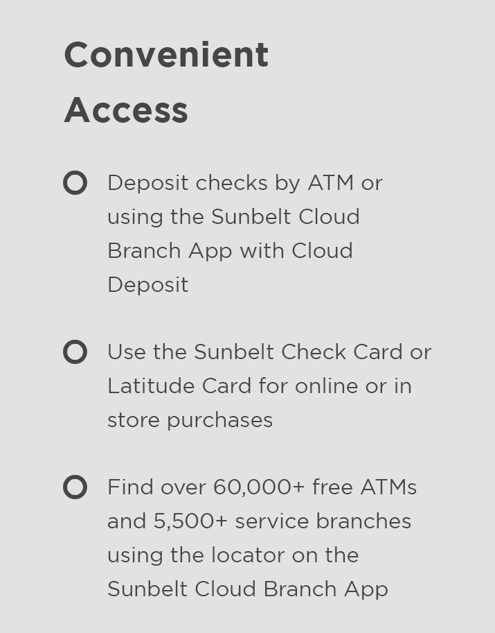Perks of a checking account at Central Sunbelt - convenient account access