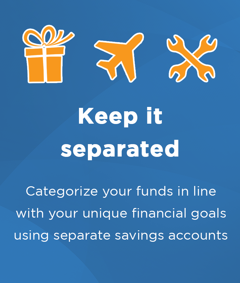 Benefits of a savings account at Central Sunbelt - Categorize your savings accounts